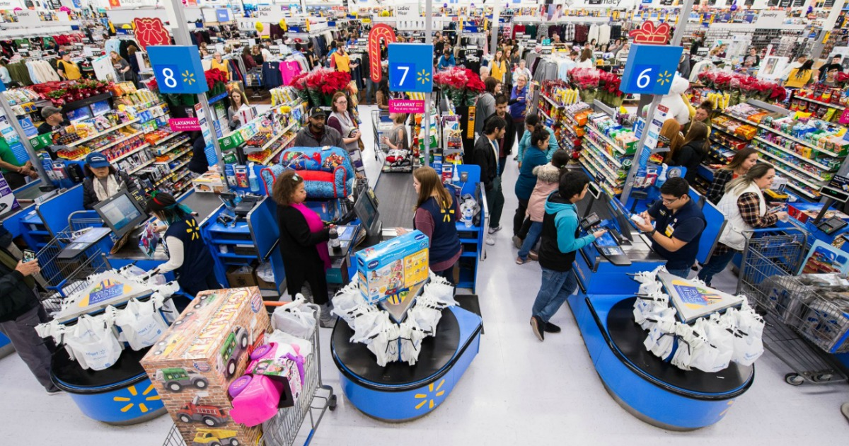 crowded walmart store during black friday