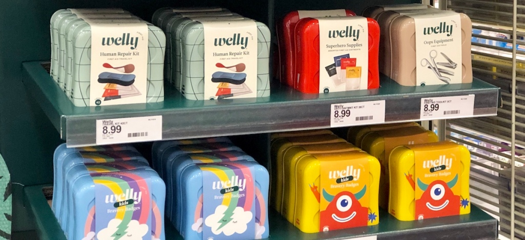 Welly First Aid Kits on shelf at Target