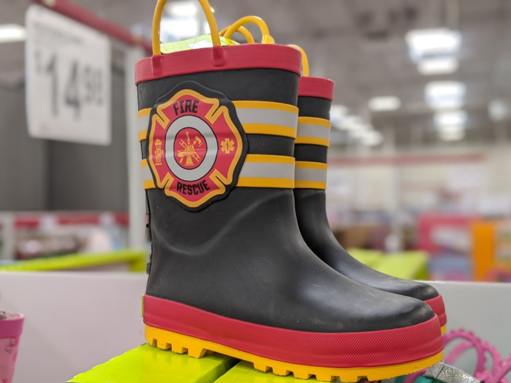 kids fire rescue rain boots in store