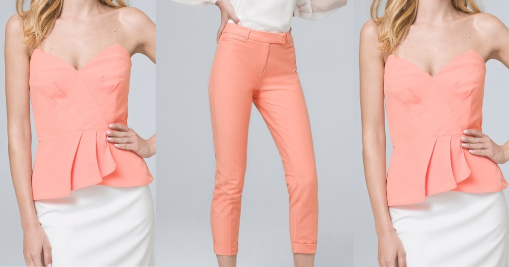 woman in coral pants and woman in coral bustier top