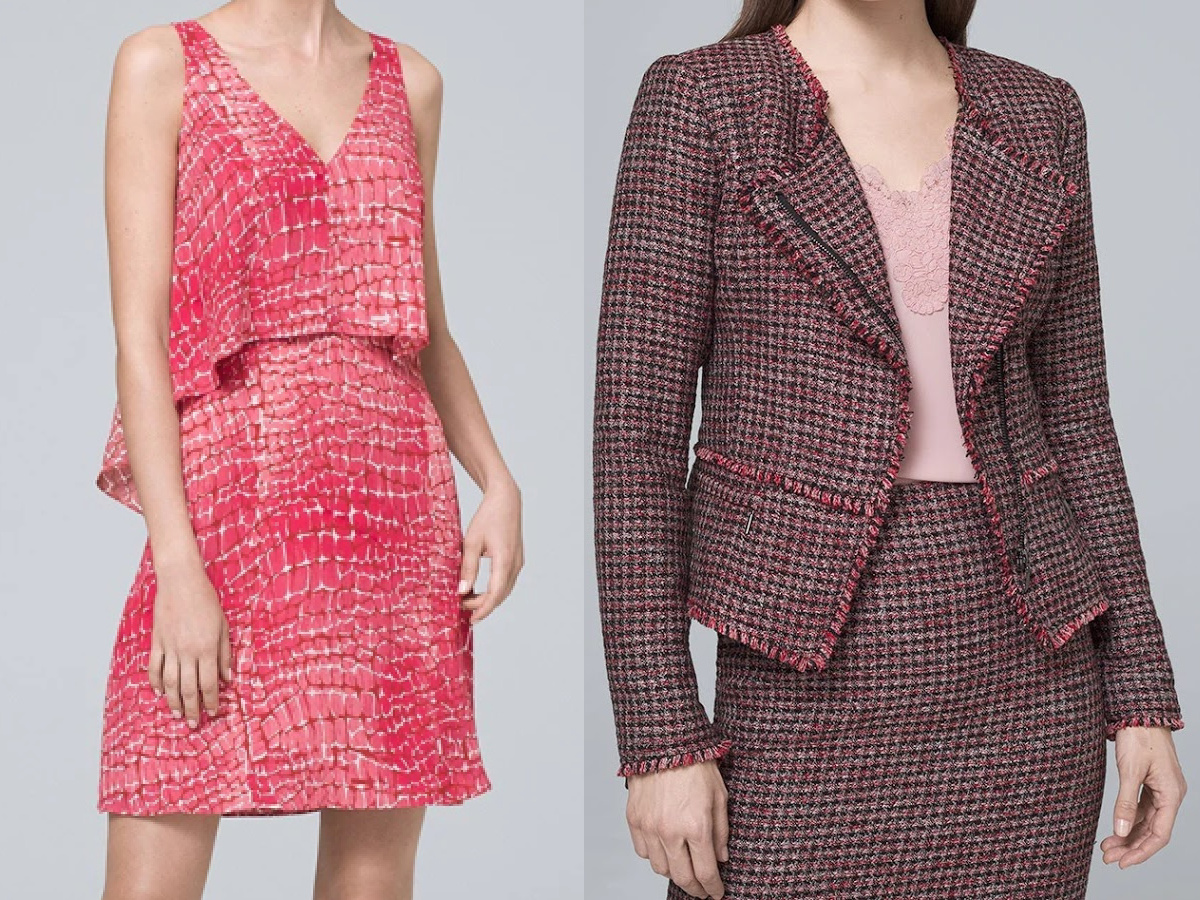 woman in pink dress and woman in red tweed jacket and skirt