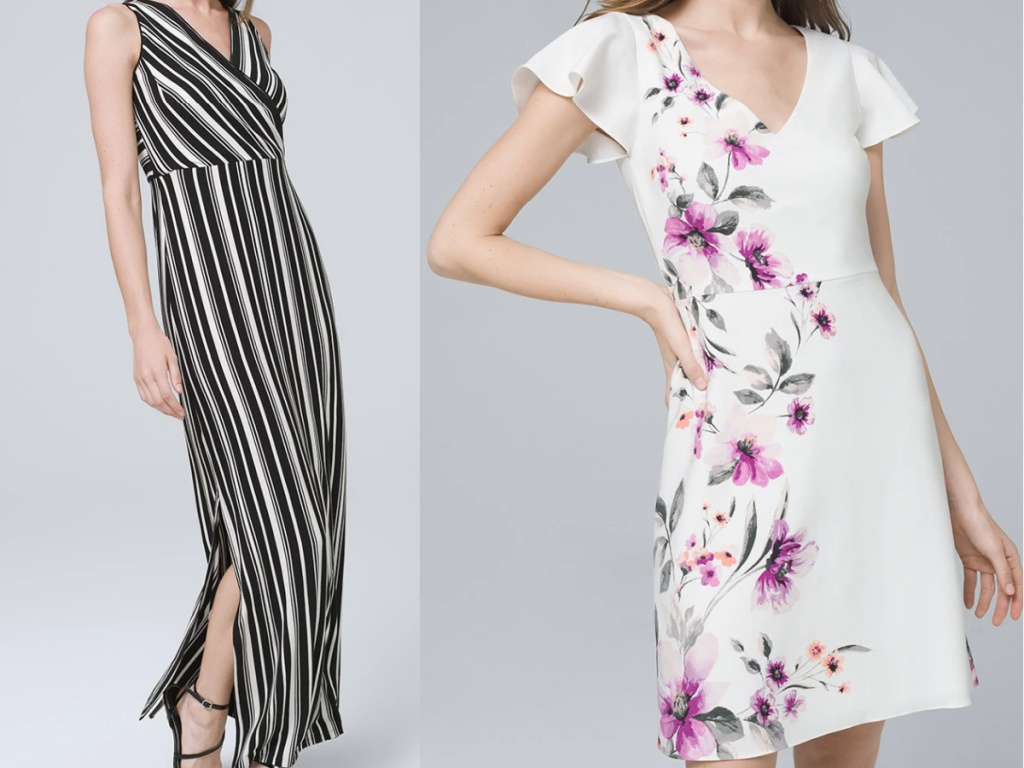 woman in black and white striped maxi dress and woman in white and purple floral dress
