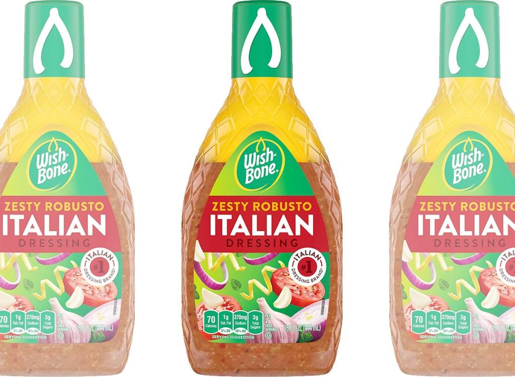 three bottles of zesty italian salad dressing