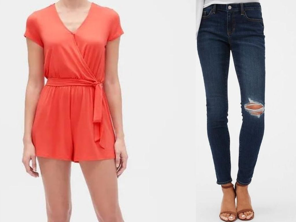 women's romper and jeans