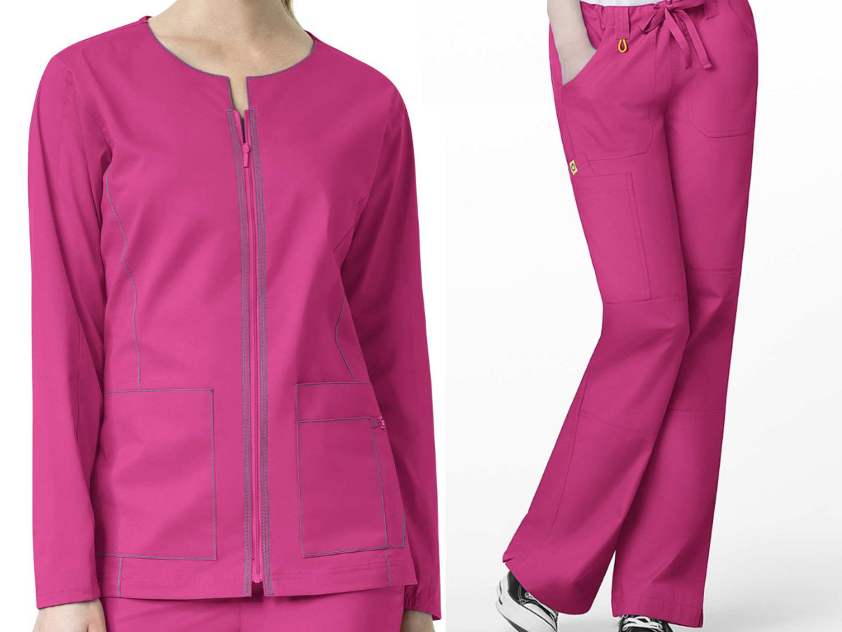 woman in pink scrub jacket and woman in pink scrub pants