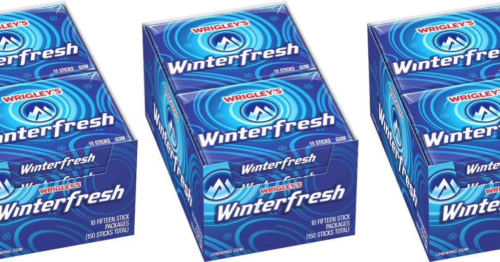 three boxes of winterfresh gum