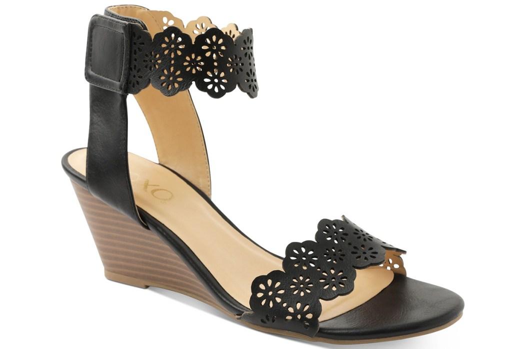 black leather wedge heel sandal
