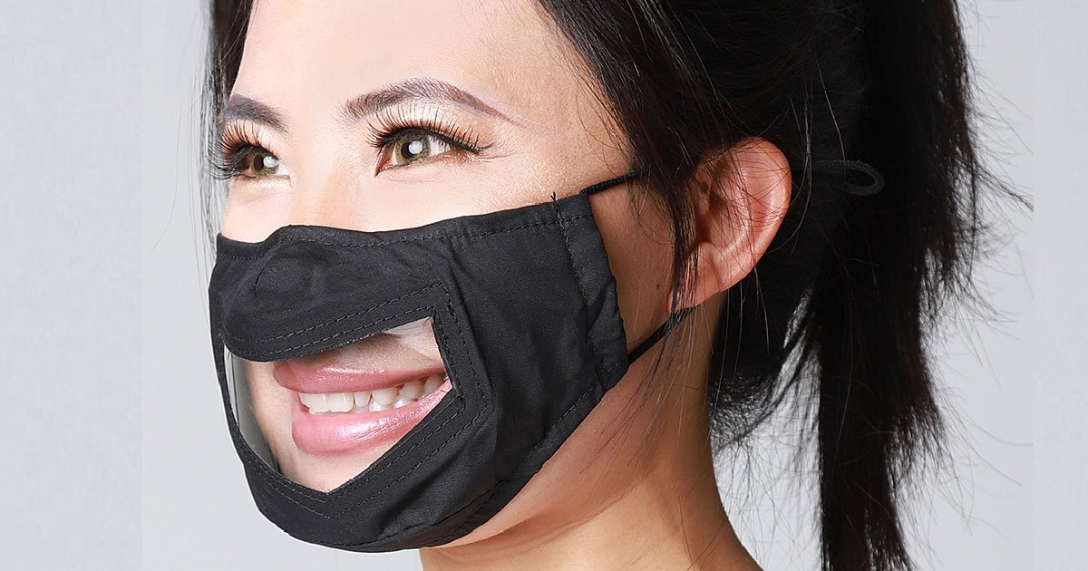 woman wearing black and clear face mask