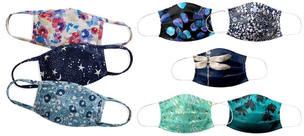 adult reusable face mask sets in assorted floral and dragonfly prints