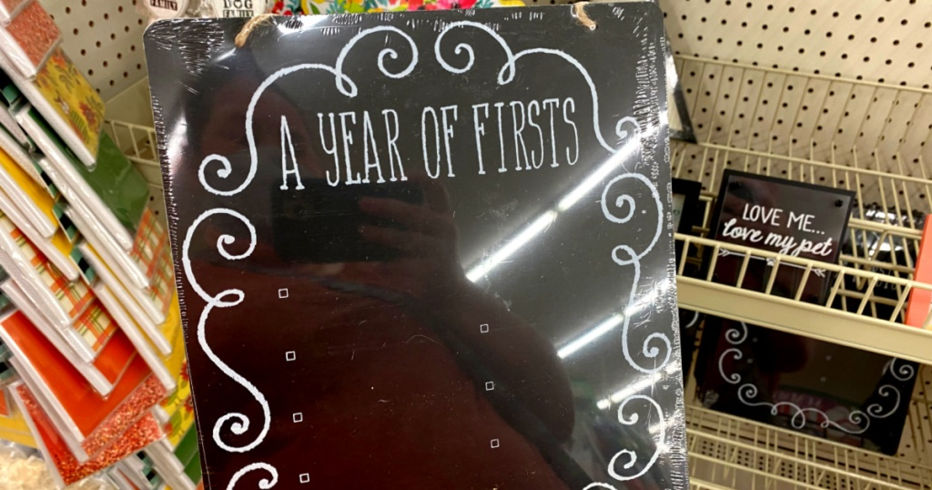 a year of firsts chalkboard at dollar tree