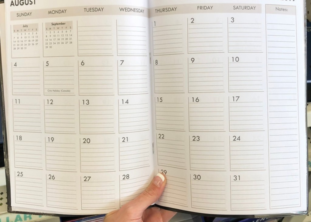 academic planner open to August