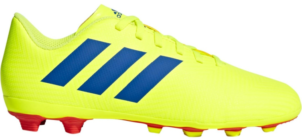 kids neon yellow and blue soccer cleat