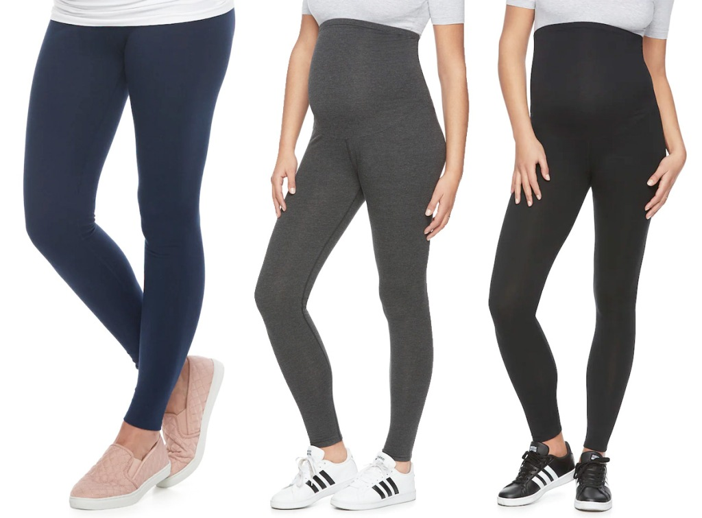 three women modeling maternity leggings in navy blue, grey, and black colors