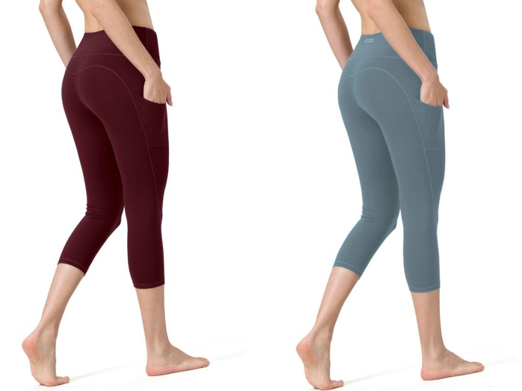 maroon and blue capri leggings