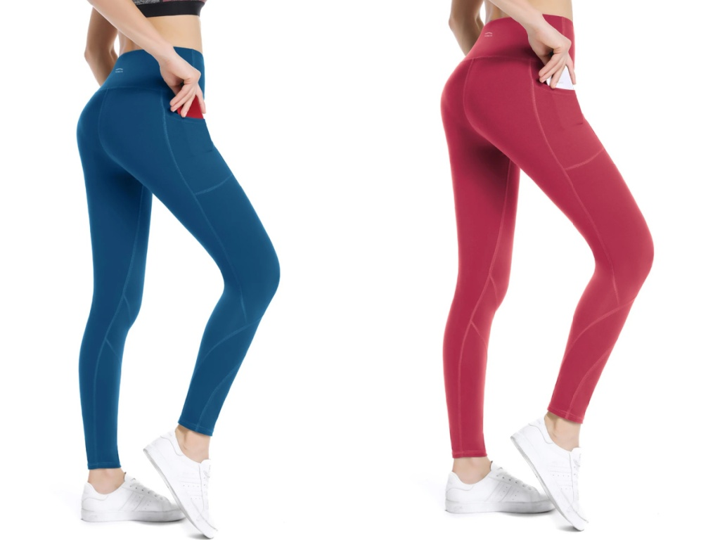 women wearing blue and red yoga joggers