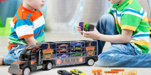 Toy Truck Car Carrier, 6 Die-Cast Cars & Accessories Just $9.99 on Amazon (Regularly $40)