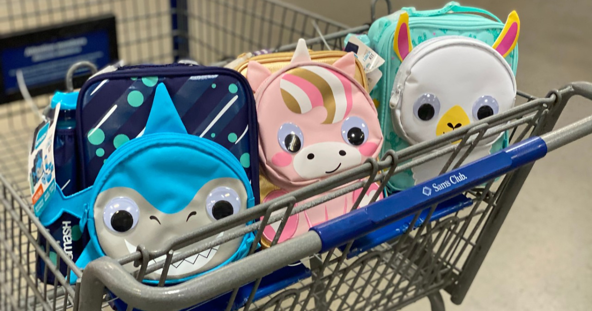 shopping cart with animal shaped lunch boxes
