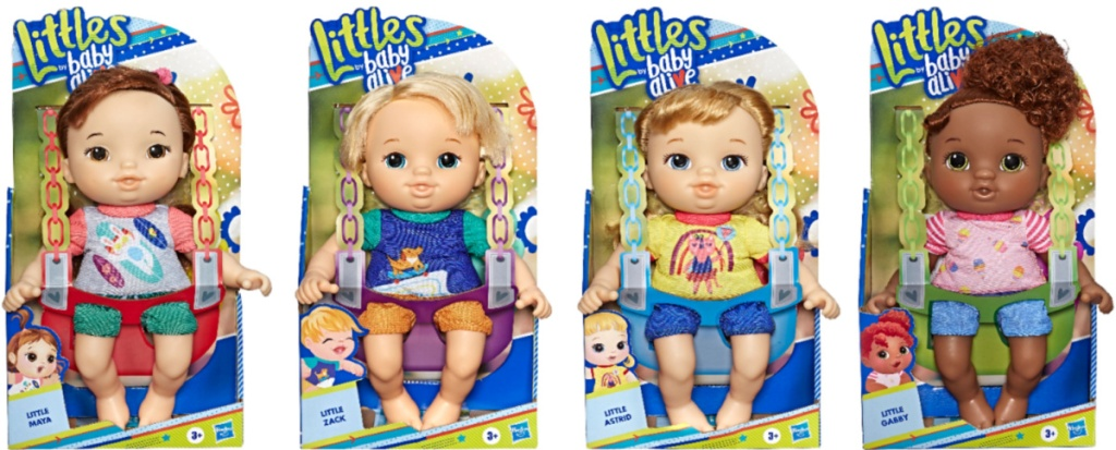 4 different baby alive littles dolls in packaging