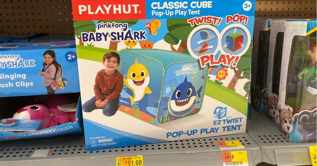 box with kids play tent on store shelf