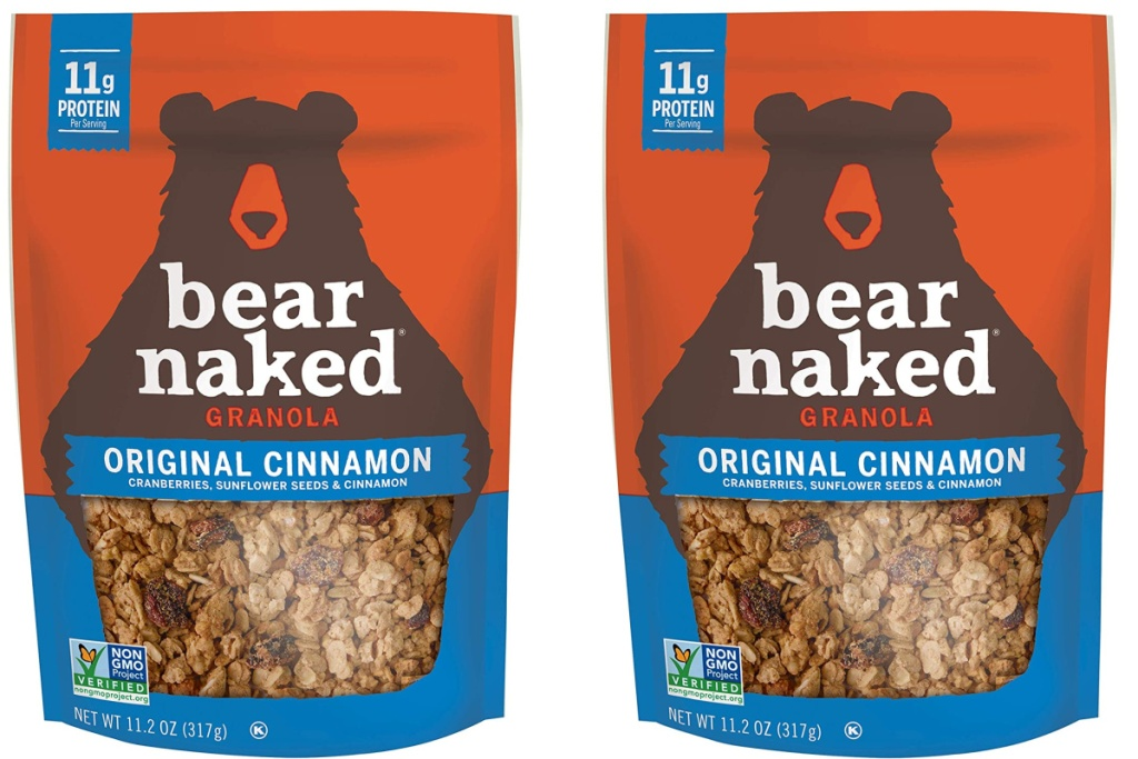 two bags of bear naked original cinnamon granola