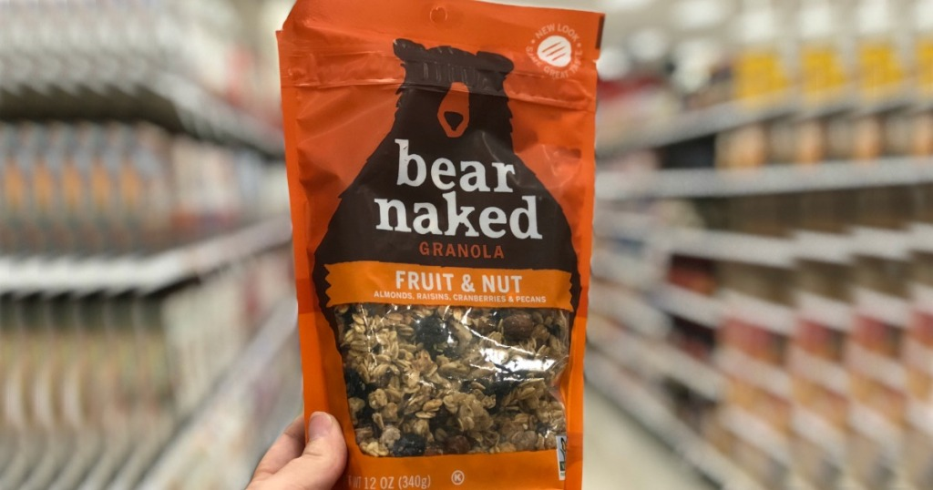 hand holding bag of bear-naked-granola fruit and nut