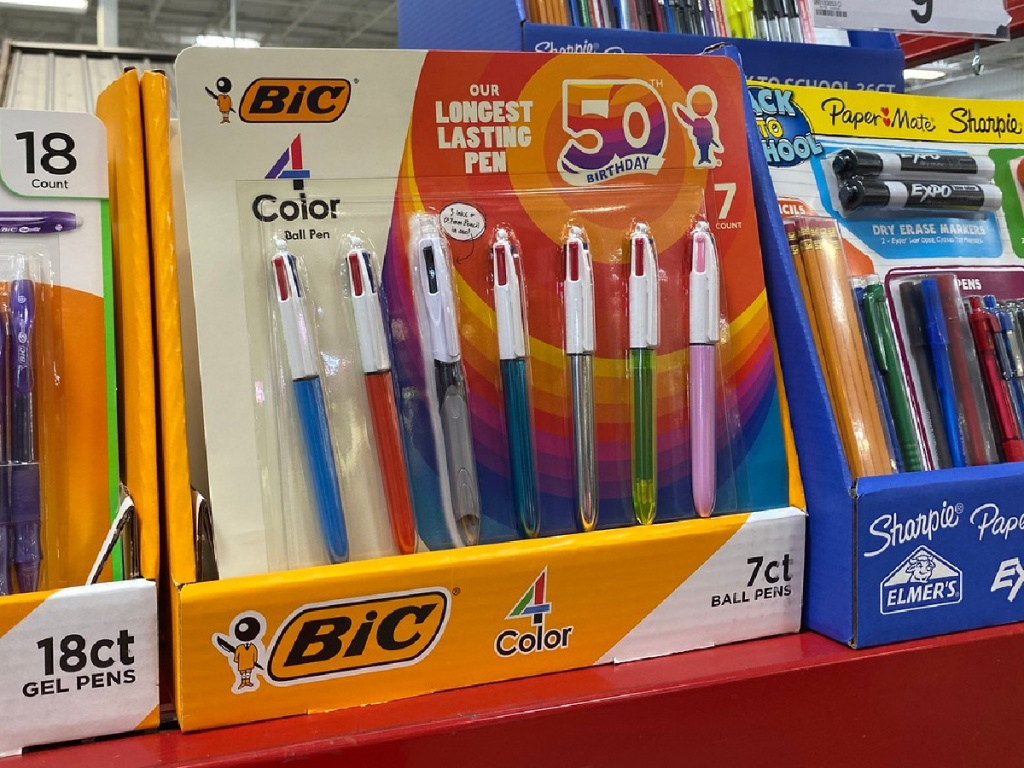 pack of pens on store shelf