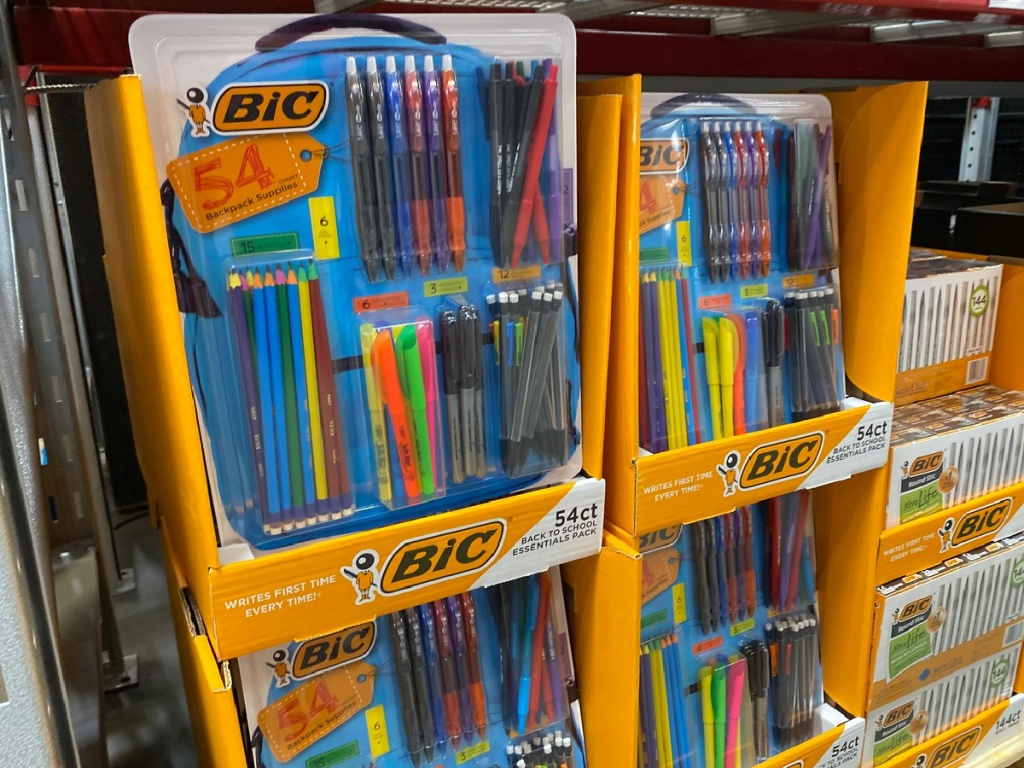large package of pens on display in store