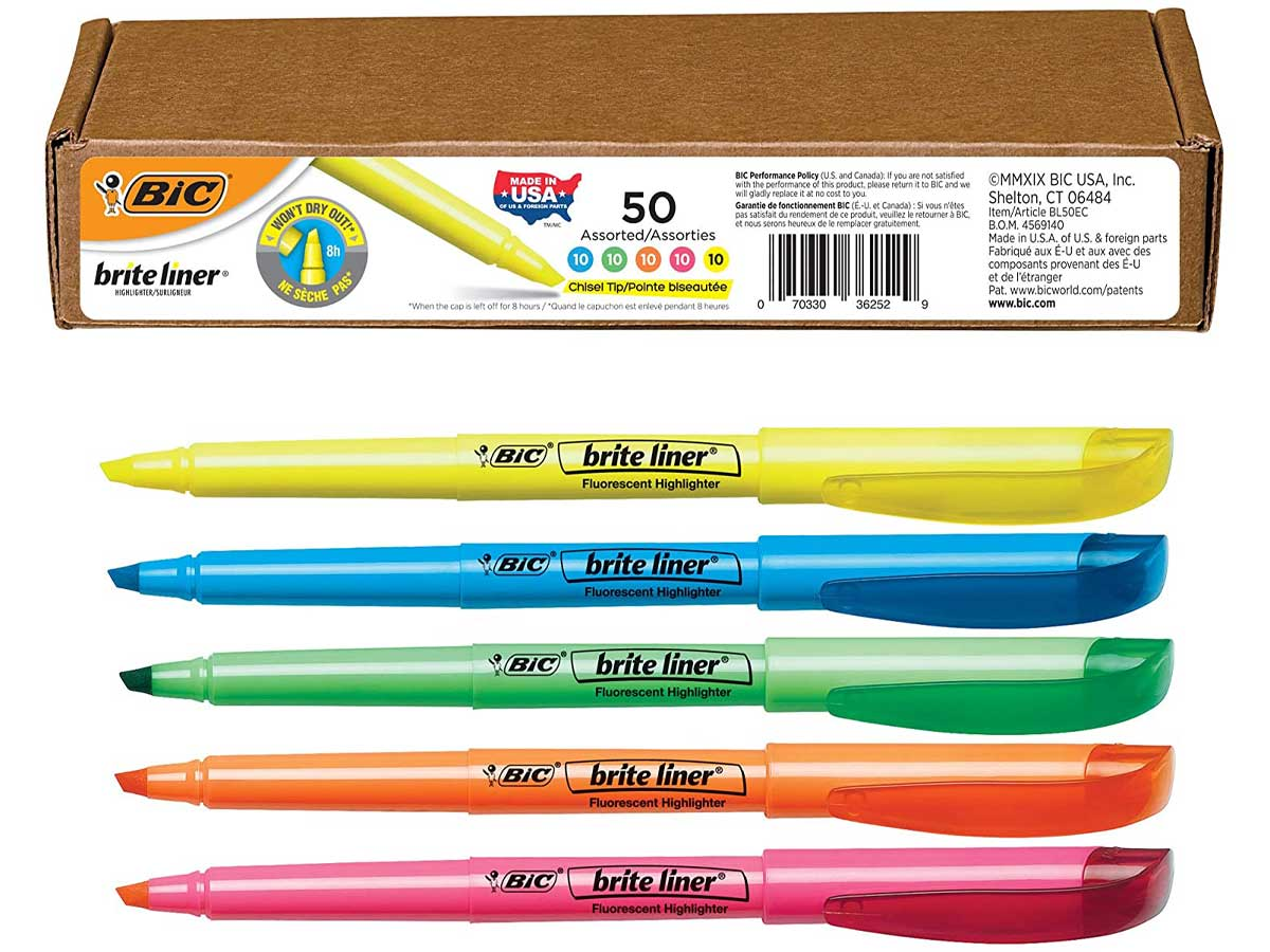 set of assorted color highlighters