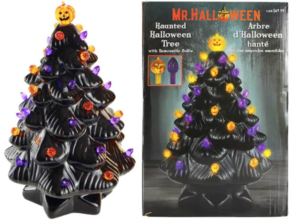 box with black ceramic halloween tree