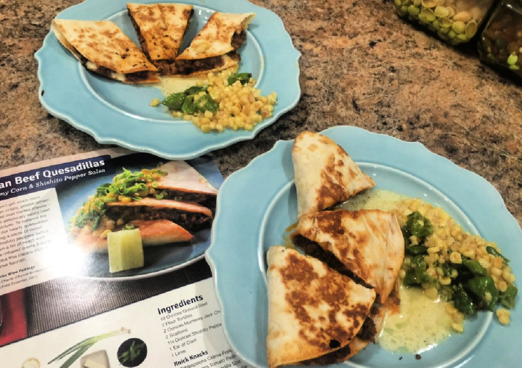 blue apron plates of food on counter