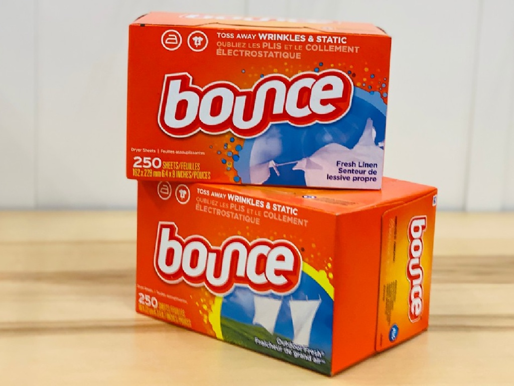 2 boxes of Bounce Dryer sheets on table