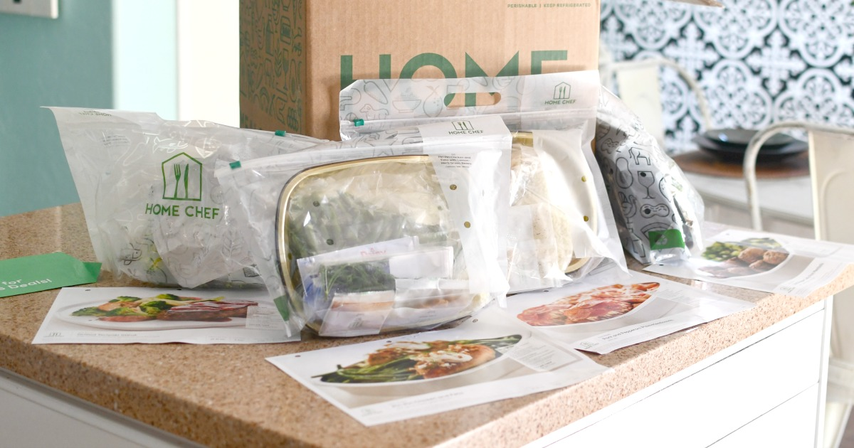 box with home chef meals on the counter