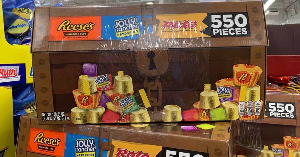 display of a treasure box full of brand name candy