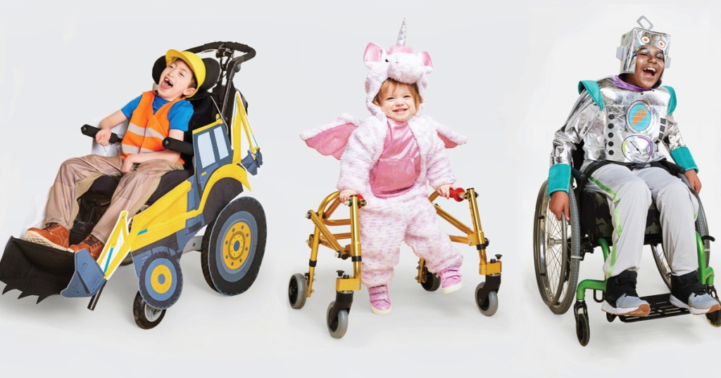 children wearing Target's Adaptive Halloween Costumes