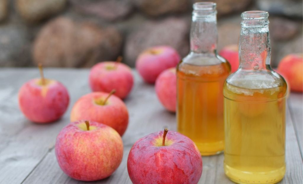 Jugs of homemade apple cider next to a few apples