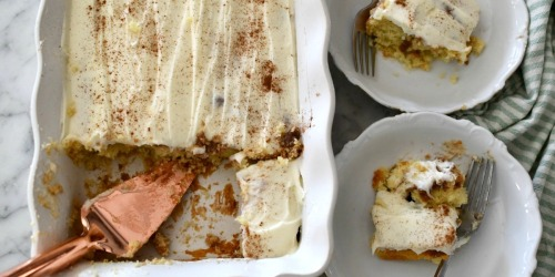 This Easy Cinnamon Roll Poke Cake Uses Boxed Cake Mix