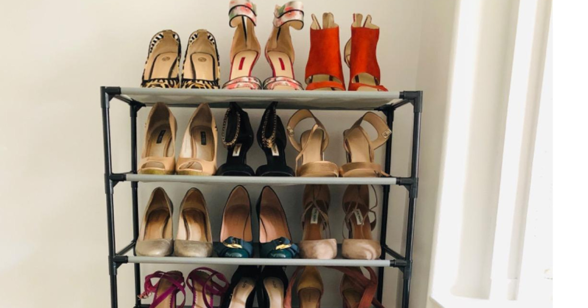 shelves with shoes stacked on them