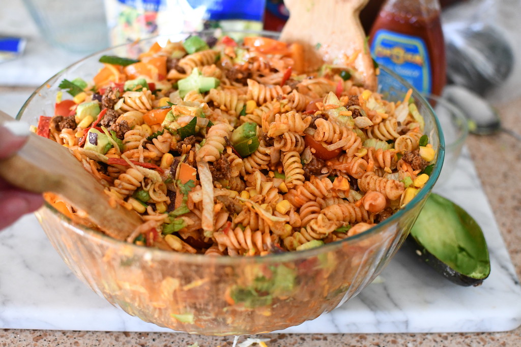 taco pasta salad in large glass bowl