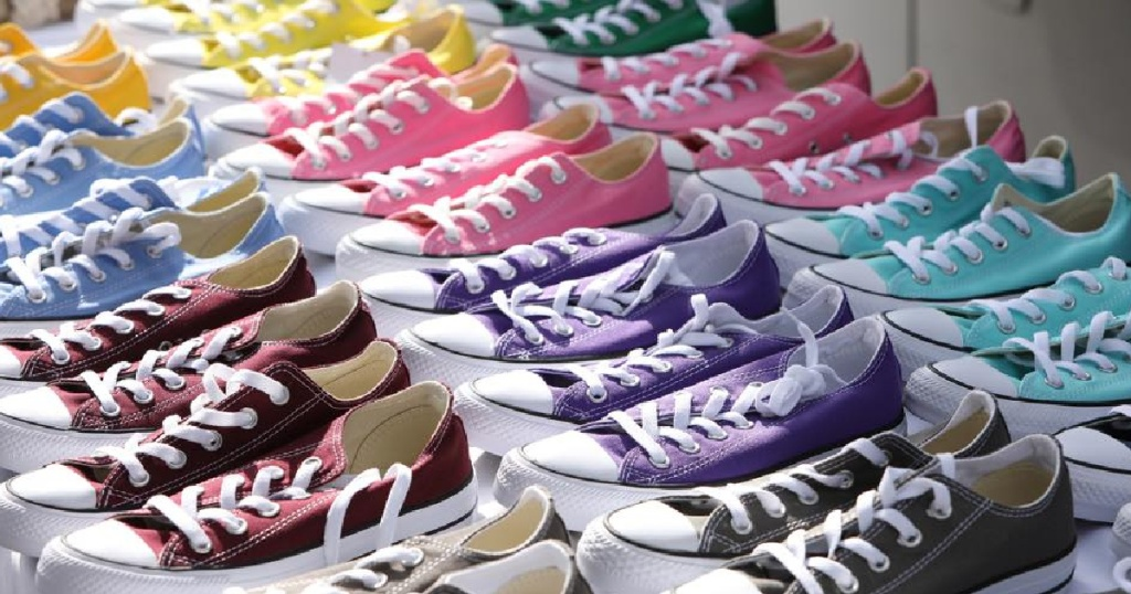 rows of colored converse low top sneakers