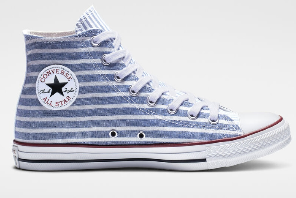 blue and white striped high tops with converse logo on side