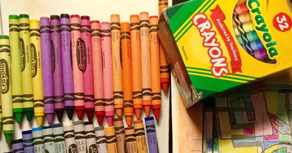 contents of 32-count box of crayons
