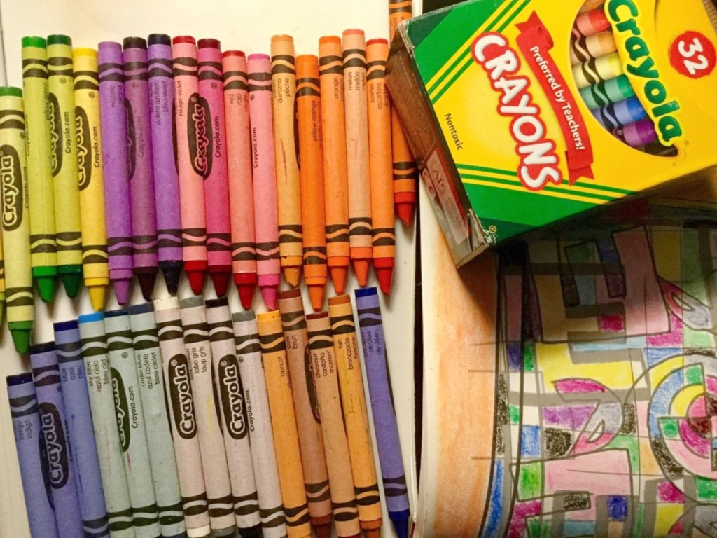 open box of 32-count Crayola crayons