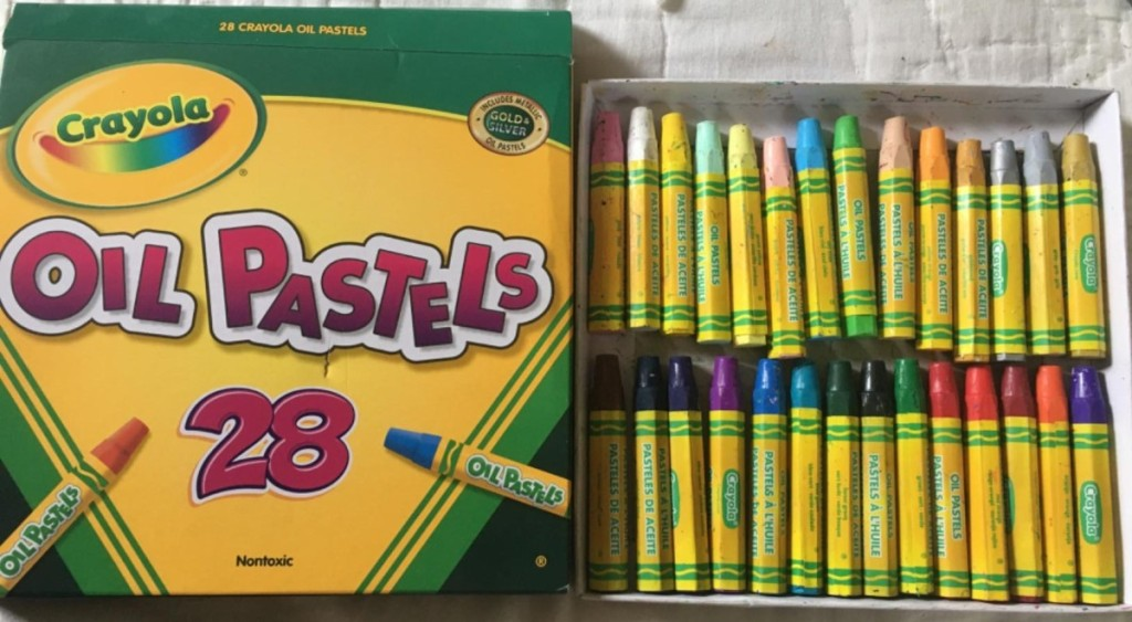 Crayola Oil Pastels next to packaging