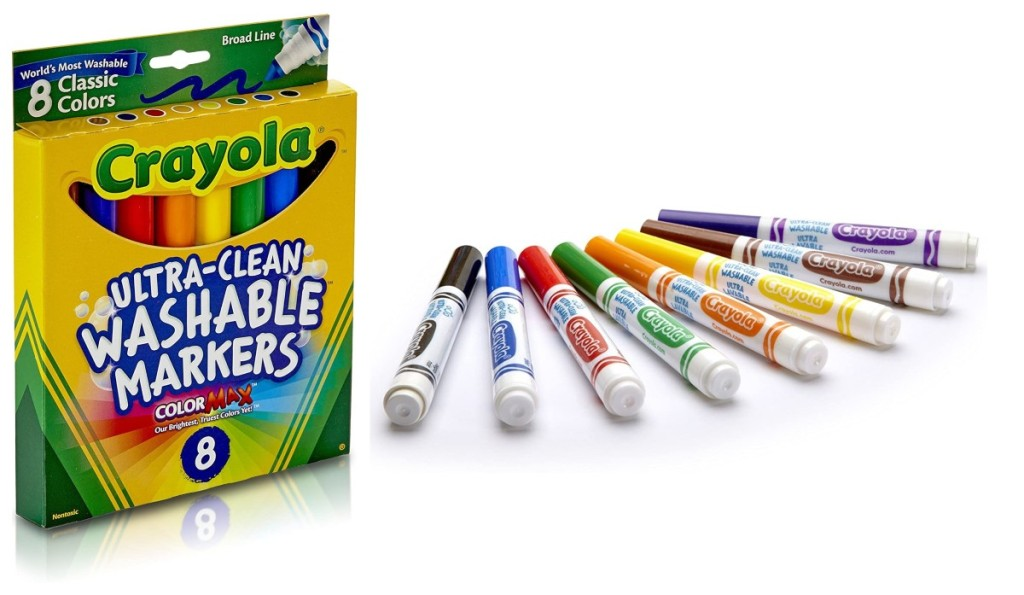 Crayola washable markers next to packaging