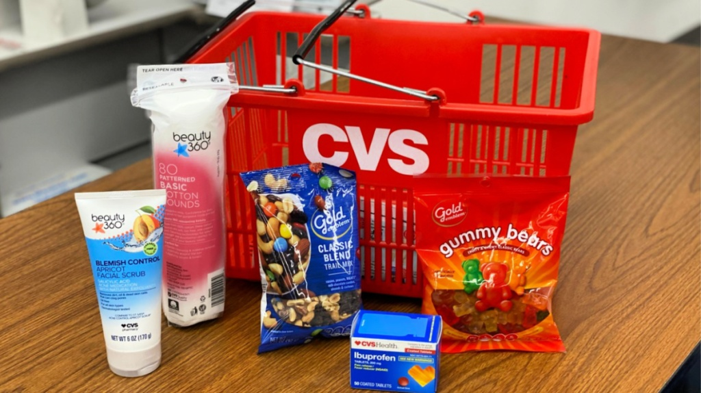 cvs items in front of basket