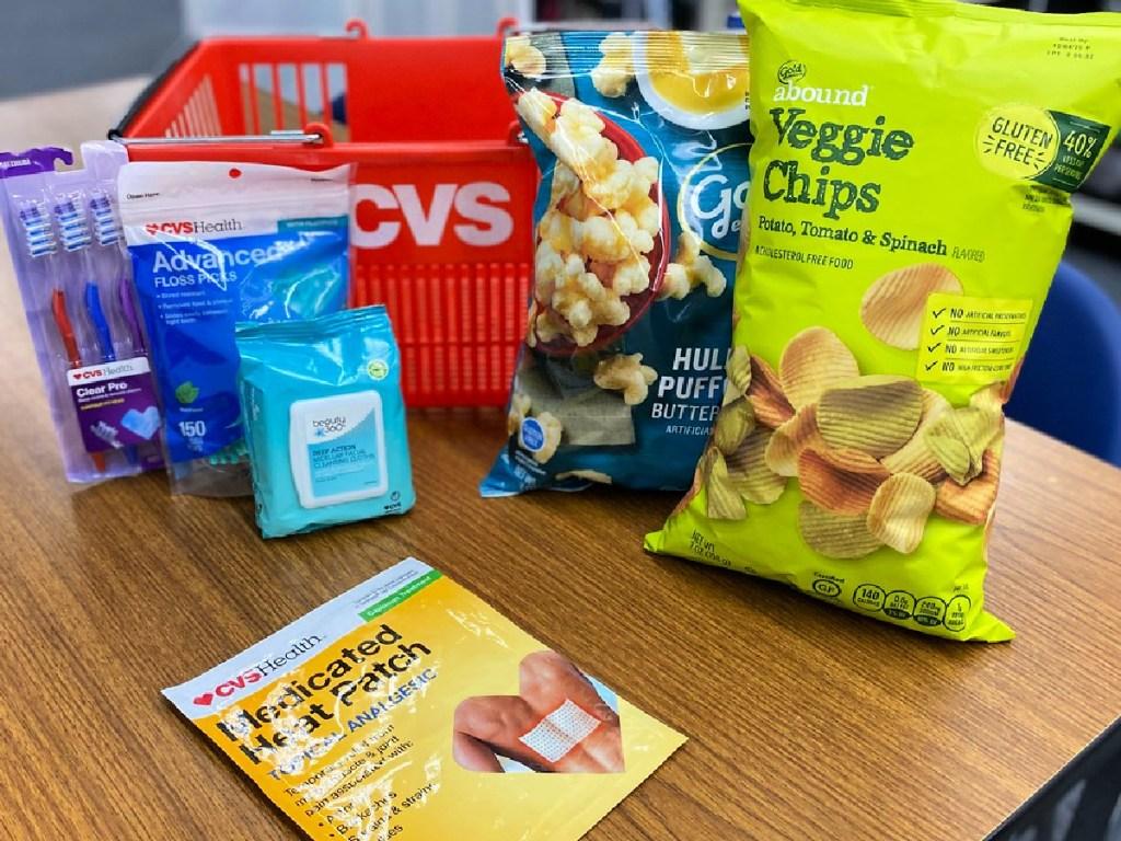 cvs items on table with cvs basket