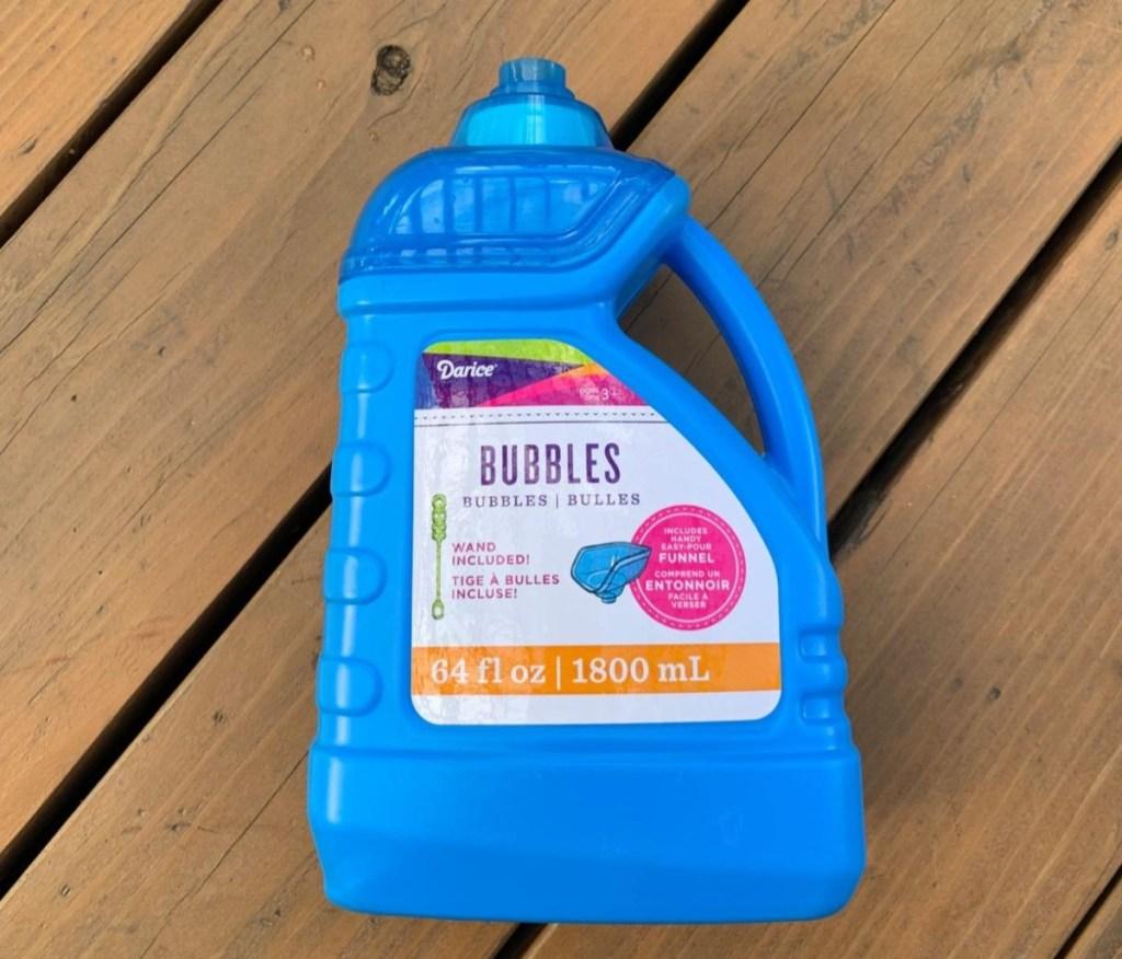 bubble solution in blue bottle