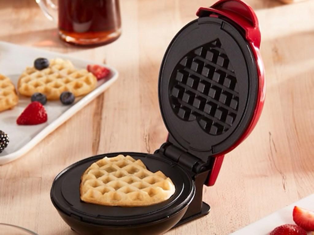waffle maker with heart shaped waffle