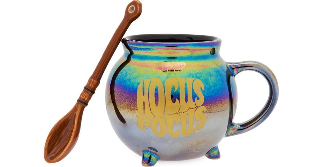 Hocus Pocus cauldron with wood spoon mug