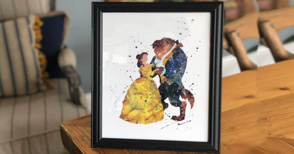 beauty and the beast print in a frame